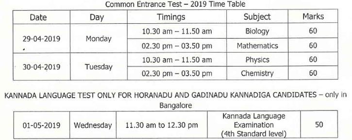 KCET 2019 Revised Dates