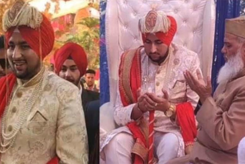 Muslim bridegroom wear Sikh turban